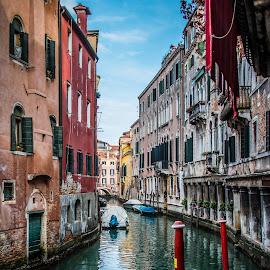 by Mario Horvat - City,  Street & Park  Street Scenes ( venezia, italyy, houses, sky, italia, venice, boat, canal )
