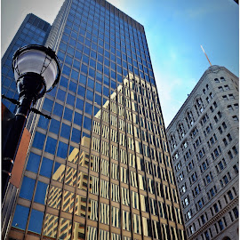 Reflections of Buildings. by Denny Paul - Buildings & Architecture Office Buildings & Hotels ( relfections, black and whtie, color, buildings, baltimore )