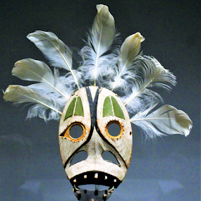 Masked  by Leah Zisserson - Artistic Objects Antiques ( green, mask, dancing mask, feathers, native american,  )
