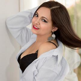 Nicole Descalzo - Boudoir Photoshoot by Warren Chirinos Pinedo - Nudes & Boudoir Boudoir ( sexy, lingerie, window, makeup, beautiful, warren chirinos, nicole descalzo, beauty, sexygirl, shirt )