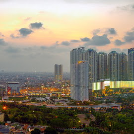 When The Sun Goes Down by Andi Kurniadi - City,  Street & Park  Street Scenes ( building, sunset, parks, street, cityscape, city, nightscape )
