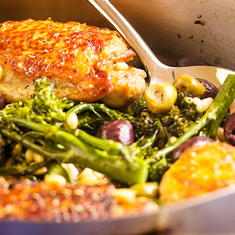 Pan Roasted Chicken Thighs with Olives and Pine Nuts