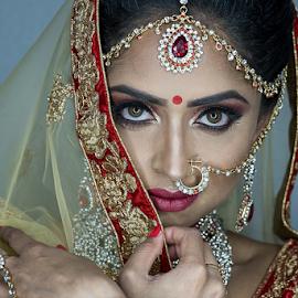Indian Bride by Paul Phull - People Portraits of Women ( wedding, beautiful, indian, bride, portrait, eyes )