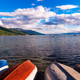 Boats by Vladimir Tufekchiev - Landscapes Travel ( clouds, water, boats, lake, beach, landscape, coast )