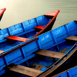 Boat Series 1 by Sudipto Hazra - Transportation Boats ( colour, water, ferry, bright, transport, blue, boats, lake, landscape,  )
