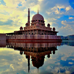 Putra Mosque by Azri Suratmin - Travel Locations Landmarks ( building, reflection, masjid, putrajaya, azri, reflections, architecture, places, azrisuratmin, people, 2012, cloud, putra mosque, air, sunrise, awan, masjid putra, Architecture, Building, Buildings, Exterior, Exteriors, Interior, Interiors, Space, Spaces, HDR, Landmark, Landmarks, Engineering, Tilt Shift, Tiltshift )