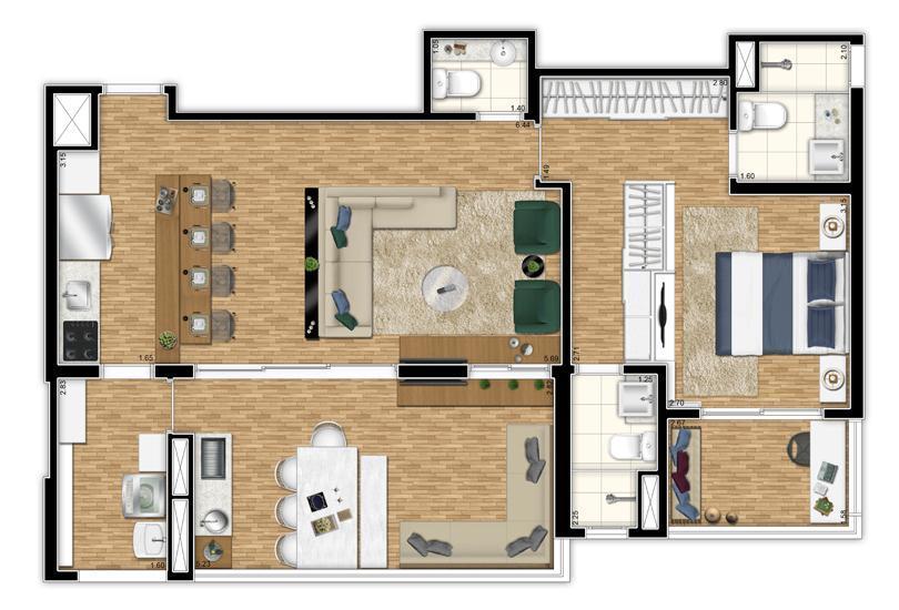 Planta Opção Apto 87 m² - Living Ampliado