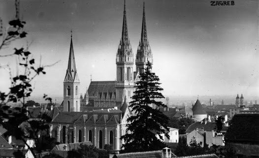 This is another photograph of Zagreb from the Rudolph Matz collection. The cathedral, which today remains the tallest structure in Croatia, serves as an iconic landmark in this city.
