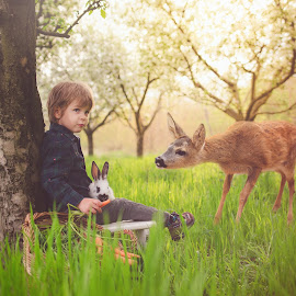 Z & his friends by Diána Barócsi - Digital Art People ( rabbit, easter, outdoor, toddler, boy )
