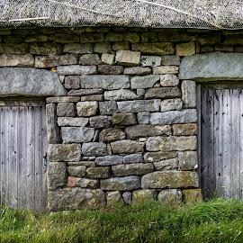 Big Door Little Door by Darrell Evans - Buildings & Architecture Other Exteriors ( roof, doors, clouds, water, building, old, sky, barn, grass, flora, thatch, green, outdoor, stone, landscape, grimwith high laithe )
