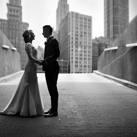 Black and white by Pop Adrian - Wedding Other ( two, black and white, wedding, cityscape, trash the dress, city )
