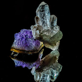 Minerals-Amethyst & Quartz by Ovidiu Sova - Nature Up Close Rock & Stone ( reflection, gems, amethyst, stone, quartz, rocks,  )
