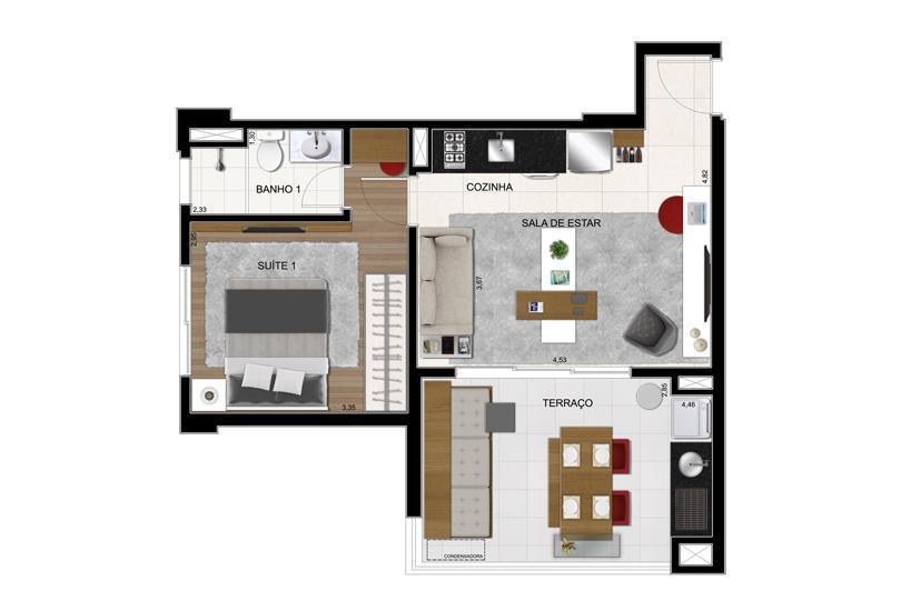 Planta Tipo Final 6 - 51 m²