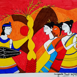 Santhal Dance by Sangeeta Paul - Painting All Painting