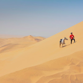 The climb by Leana Erasmus - Sports & Fitness Other Sports ( #dune7, #theclimb, #walvisbay2017, #horseridinginnamibia, #endurancerides )