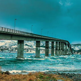Bridge in a storm by Benny Høynes - Buildings & Architecture Bridges & Suspended Structures ( canon, blowing, wind, bennyhøynes, bridge, storm, norway )