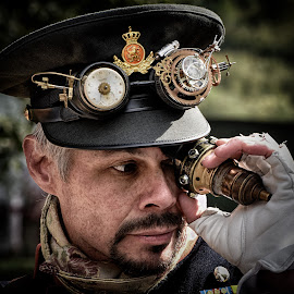 Captain Eye by Marco Bertamé - People Portraits of Men ( oine eye, cap, glove, man,  )