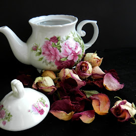 Tea Pot and Dried Roses by Kathy Rose Willis - Artistic Objects Still Life ( black background, dried roses, tea pot, still life, white, roses, pink,  )