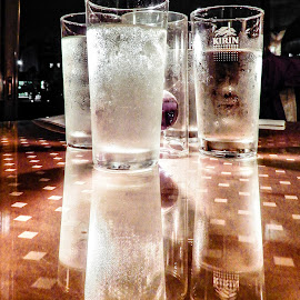 Four Drinks, Reflected by Richard Michael Lingo - Food & Drink Alcohol & Drinks ( japan, glasses, alcohol, drink, table )
