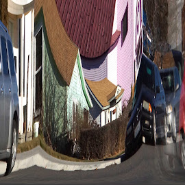 Distortions by Gaylord Mink - Abstract Patterns ( distortion, building, patterns, cars, adstract )