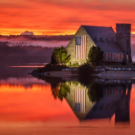 Old Stone Church Sunset by David Long - City,  Street & Park  Historic Districts ( old stone church, wachusett reservoir, west boylston )