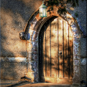 Shadows around the door by Carol Lauderdale - Buildings & Architecture Places of Worship ( old church doors, aldingham, evening shadows, cumbria, st cuthbert's church,  )