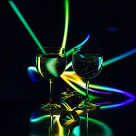 Whips by Lisa Hendrix - Artistic Objects Other Objects ( reflection, color, apple, artistic, negative light, wine glasses, light )