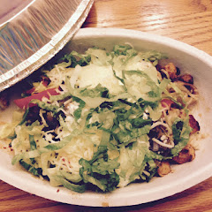 Rice Bowl with Chicken, Peppers, Salsa, Cheese, Sour Cream and Lettuce.