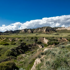 Scottsbluff National Monument by Deb Tomoi - Landscapes Prairies, Meadows & Fields ( nature, oregon trail, landscape, pioneers, country )