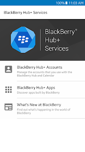 Dienste des BlackBerry Hub+ Screenshot