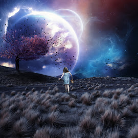 Lost in a Dream by Sergiu Pescarus - Digital Art Places ( child, fantasy, dreaming, planets, mistery, lost, dream, fantasy world )