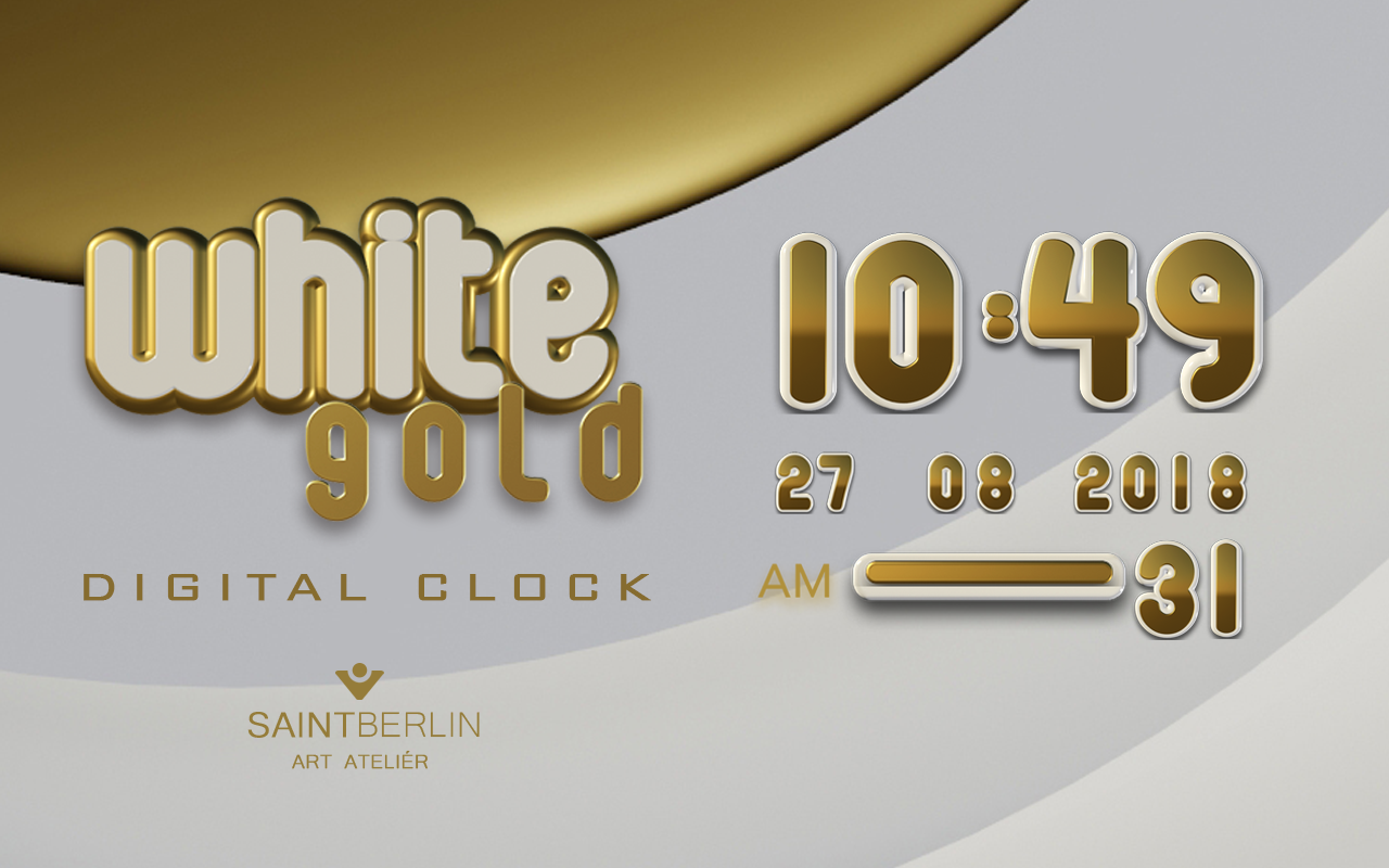 White Gold Digital Clock Screenshot 4