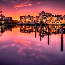 Sparkling by Alex Stecina - City,  Street & Park  Skylines ( clouds, mirror, lights, water, sky, sunset, buildings, reflections, lake, bridge, architecture, colours )