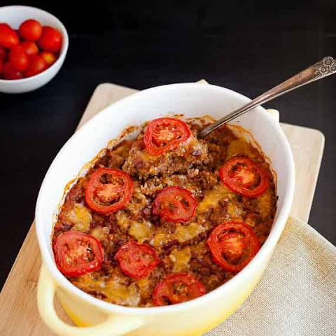 Bacon Burger Cauliflower Rice Casserole