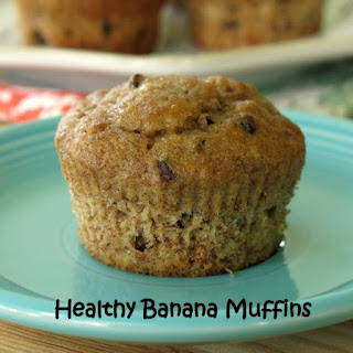 Healthy Banana Muffins with Chocolate Chips or Nuts
