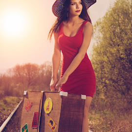 Traveler by Zoran Stamenkovic - People Portraits of Women ( sexy, girl, rails, suitcase, beautifull, nice, lanels, travel, red dress, hat )