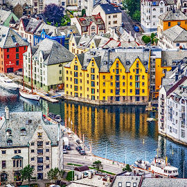Looking at Old Town by Richard Michael Lingo - City,  Street & Park  Historic Districts ( historic, city, norway, old town, aalesund )