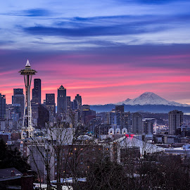 Seattle Sunrise by Brad Larsen - City,  Street & Park  Skylines ( mountain, colorful, buildings, cityscape, sunrise )