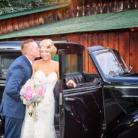 They Became Mr. & Mrs. Today by Karen Schmautz - Wedding Bride & Groom ( kiss, wedding, vintage car, bride, groom, el dorado county )