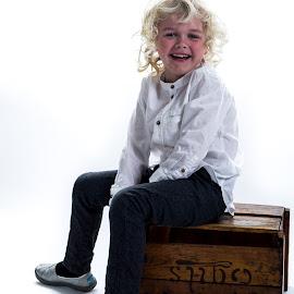 Happy on a box by Gunnar Sigurjónsson - Babies & Children Children Candids