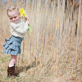 Sweet Daffodils by Kristen VanDeventer Rice - Babies & Children Child Portraits ( field, child, blonde, girl, daffodil, denim, flowers, toddler, preschool )