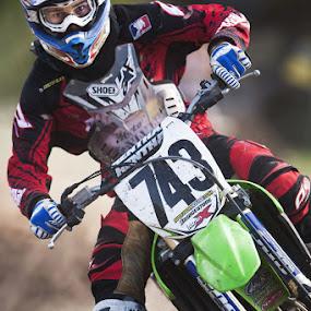 Lean by Josh Balduf - Sports & Fitness Other Sports ( bike, shoei, green, focused, racer, motorcycle, fast, helmet, dirt, kawasaki, race )
