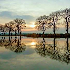 Sunrise at magic lake.. by Željko Salai - Landscapes Sunsets & Sunrises