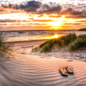 Weary Soles by Adam Currey - Landscapes Beaches ( wind, sand, waves, sunset, ocean, beach )