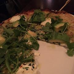Avocado & Pesto GF Pizza with allergy marker. Fantastic!