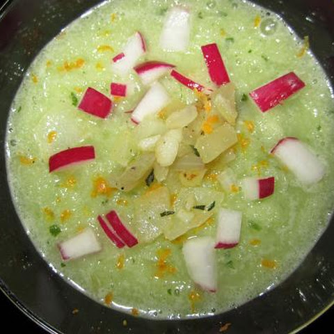 Cucumber Celery Gazpacho With Radishes and Thyme Onion Confit