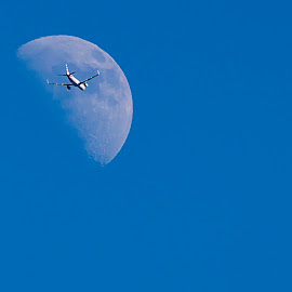 Flight 1094 by Elliot Mednick - Transportation Airplanes ( moon, airplane, airliner, transportation, airbus, jet,  )