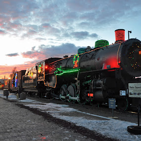 Grand Canyon Railway by Dawn Hoehn Hagler - Public Holidays Christmas ( sunset, locomotive, arizona, williams, christmas, train, grand canyon railway, grand canyon,  )