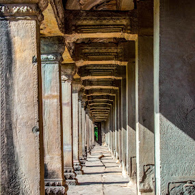 Path to my thoughts by Ceejae Chiu - Buildings & Architecture Other Exteriors ( post, pathway, shadow, angkor wat, deep depth of field )