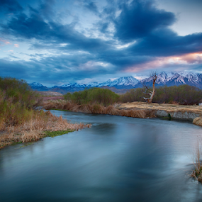 Owens River Sunset in Sierra Nevadas by Dale Kesel - Landscapes Cloud Formations ( water, spectacular light, mountains, sunset, flowing water, reflections, sierra nevada mountains, landscape, dusk, light, slow shutter, river )